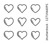 heart linear icons  love symbol ... | Shutterstock .eps vector #1271466091