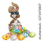 easter bunny rabbit cartoon... | Shutterstock .eps vector #1271473837