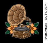 gramophone flash tattoo  vector ...   Shutterstock .eps vector #1271477074