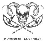 human skull with ram horns and... | Shutterstock . vector #1271478694