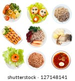 set of top view of group plates ...   Shutterstock . vector #127148141