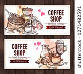 coffee sketch collection.... | Shutterstock . vector #1271482591