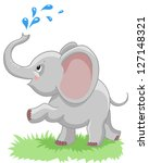 Stock vector cheerful baby elephant with a spray of water on a white background 127148321