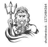neptune holds trident drawn in... | Shutterstock . vector #1271484364