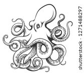 octopus drawn in engraving... | Shutterstock . vector #1271488297