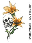 skull with yellow orchids drawn ... | Shutterstock . vector #1271489584