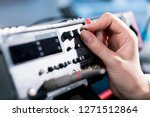 engineer hand use electrical... | Shutterstock . vector #1271512864