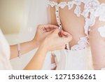 white wedding dress. morning of ... | Shutterstock . vector #1271536261