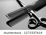barber scissors and a hairbrush ... | Shutterstock . vector #1271537614