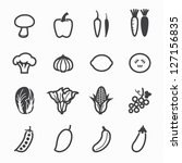 vegetables and fruits icons...
