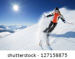 girl   woman   female on the ski | Shutterstock . vector #127158875