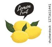 fresh lemon fruit. lemon and... | Shutterstock .eps vector #1271611441