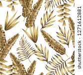 expensive gold tropical leaves... | Shutterstock .eps vector #1271612881