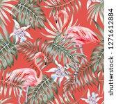 exotic tropcal bird pink... | Shutterstock .eps vector #1271612884