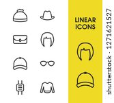 clothing icons set with hat ...