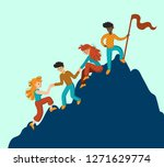 group of climbers helping each... | Shutterstock .eps vector #1271629774