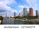 A view of Paris, and the River Seine. - stock photo