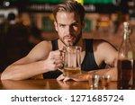 he is a big fan of beer.... | Shutterstock . vector #1271685724