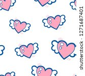 doodle seamless pattern with... | Shutterstock .eps vector #1271687401