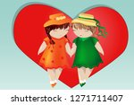 happy valentine's day. a pair... | Shutterstock .eps vector #1271711407