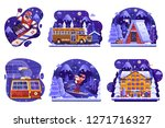 winter holidays in mountains... | Shutterstock .eps vector #1271716327