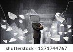 businessman in suit with laptop ...   Shutterstock . vector #1271744767