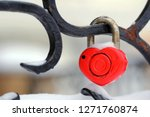 Red Heart Shaped Padlock With...