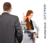Female employee blames her male boss, index finger raised. Business situation isolated on white background. - stock photo