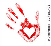 red handprint with a heart... | Shutterstock .eps vector #127181471
