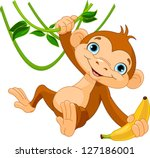 Cute Baby Monkey On A Tree...