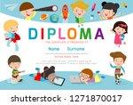 certificates kindergarten and... | Shutterstock .eps vector #1271870017