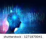 silhouette of virtual human on...   Shutterstock . vector #1271870041
