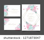 floral wedding invitation with... | Shutterstock .eps vector #1271873047