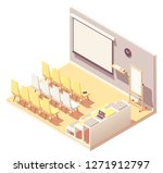 vector isometric office... | Shutterstock .eps vector #1271912797