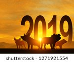 silhouette pig in 2019 text for ... | Shutterstock . vector #1271921554