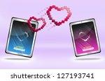 online dating concept on pink... | Shutterstock . vector #127193741
