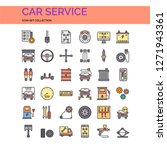 car service icons set. ui pixel ... | Shutterstock .eps vector #1271943361