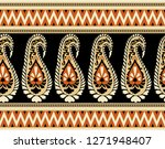 seamless tribal paisley border | Shutterstock . vector #1271948407