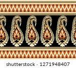 seamless tribal paisley border   Shutterstock . vector #1271948407