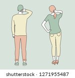 a man and a woman stand and... | Shutterstock .eps vector #1271955487