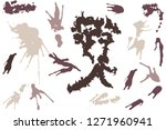 hand drawn set of sepia colored ... | Shutterstock .eps vector #1271960941