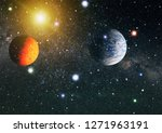 nebula and galaxies in space.... | Shutterstock . vector #1271963191