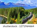 long freight train moving along ... | Shutterstock . vector #1271964664