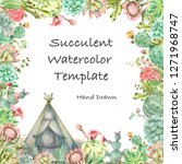 watercolor hand drawn greeting... | Shutterstock . vector #1271968747