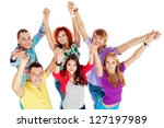 group of young people standing... | Shutterstock . vector #127197989