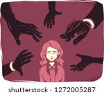 illustration of a stressed girl ... | Shutterstock .eps vector #1272005287