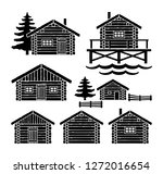 wooden log cabin vector | Shutterstock .eps vector #1272016654