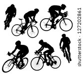 Various Cycling Poses In Black...
