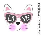 lovely cute cat face in... | Shutterstock .eps vector #1272040204