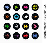 arrow sign icon set. color on...